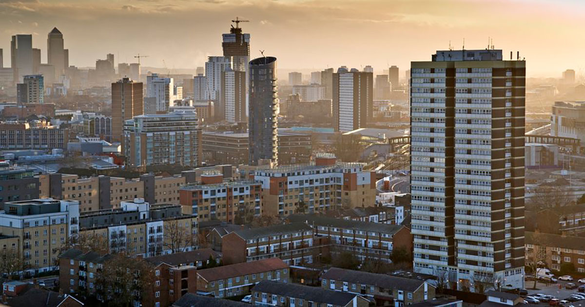 sky view of the borough of Newham, London